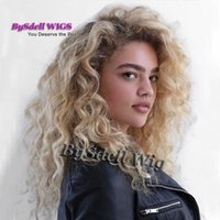Wholesale Premium Lace Front - Premium Natural White Woman Hairstyle Wig Black Roots Ombre Blonde color Hnad Woven Wide Scalp Lace Front wigs for white women