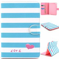 Wholesale Print Love Cards - Blue Stripes Love Design Pu Leather Flip Stand Folio Card Holder Pouch Cover Case For Apple iPad Mini 4 Mini4 Tablet Protective Shell