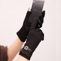 Wholesale Fingerless Gloves Stylish - Wholesale- 2016 Hot Beautiful Stylish Women Touch Screen Cotton Gloves Lady Lace Gloves Black