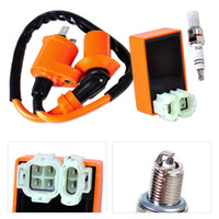 Wholesale 125cc Kart Cdi - Racing Ignition Coil +Orange CDI +Spark Plug Fit for GY6 50cc 125cc 150cc Scooter ATV Go Kart Moped