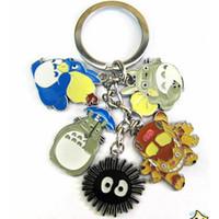 Wholesale Totoro Keychain Metal - My Neighbor Totoro 5 Metal Doll Pendants Keychain Hayao Miyazaki Animation Film Surrounding