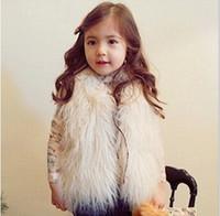 niñas bebés chalecos de piel sintética al por mayor-Chicas lindas chaleco de piel chaleco chalecos cálidos sin mangas capa niños Outwear barato abrigo de invierno ropa de bebé ropa de niños chica chaleco MC0307