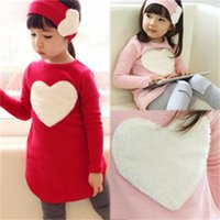Wholesale heart shaped headbands for sale - Group buy Baby girls Heart shaped outfits Kids cotton headband Love top pants sets children Clothing Sets C2828