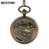 Wholesale Bronze Pocket Watch Mechanical - BESTIME Watch Retro Bronze Train Mechanical Hand Wind Pocket Watch Roman Numerals Black Dial with Chain