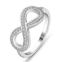 infinito caliente al por mayor-Diseño llano caliente Infinito 8 forma circón blanco anillo de plata esterlina simple 925 estampado s925 joyas joyería de China fábrica al por mayor