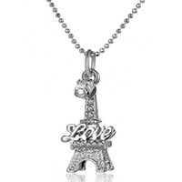 Wholesale Eiffel Tower Jewelry For Men - New Paris France French Eiffel Tower Pendant Necklaces Fashion LOVE Jewelry Birthday Gift for Bridesmaids women and men