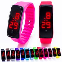 Wholesale Multi Color Silicone Watches - 2017 new Sports rectangle led Digital Display touch screen watches Rubber belt silicone bracelets Wrist watches