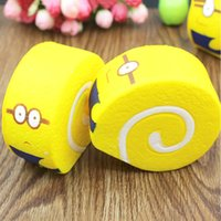 Wholesale Despicable Plug - 10 pcs Jumbo 10CM Squishy Despicable Me Minions Cake Roll Soft Key Chains Bread Scented Cellphone Charm Strap 3.5mm dust Plug