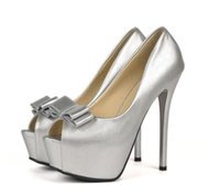 Wholesale Bridesmaid Dress Bowtie - Eegant bridesmaid silver bowtie peep toe platform high heels pumps women wedding shoes size 34 to 39