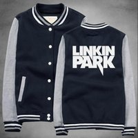 Wholesale Baseball Rock - 2017 New Winter Clothing Buttons Tracksuit Preppy Style Cool Coats And Linkin Punk Park Rock Band Baseball Bomber Jacket Men 2XL
