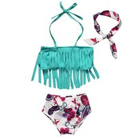 Wholesale Infant Bow Top - Infants girls cute tassels bikini 3pc set headband+tassels halterneck top+bow flower shorts baby beach clothes outfits for 0-2T