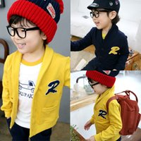 Wholesale Cardigan Sweater Outerwear Children - Wholesale- Free shipping children clothing boys and girls spring sweater cardigan outerwear kids jacket child clothes color yellow blue