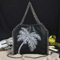 Wholesale Import Photos - 100% real photos Imported PVC Tote Bag Embroidery Coconut tree three Silver Chains Handbag woman's fashion crossbody Shoulder Bags