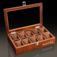 Wholesale wood show case - Antique Type SOKI Solid Walnut Wood Watch Box Brown Color for 10 Watches Display Case with Glass Top Show Case B016Z