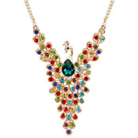 Wholesale Peacock Diamond Necklace - 2017 new Luxury Gold Color Peacock Design Multicolor Created Diamond Necklace for Wedding Women Wholesale free shipping