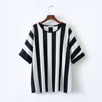 Wholesale Plus Size Vertical - Plus Size Women's Striped T-shirts Contrast Color Black and White Vertical Stripes Loose Short Sleeve Top 4XL Super Large Size T Shirt