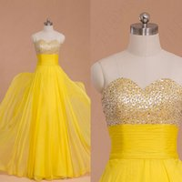 Wholesale Bridesmaid Dressess - Simple Elegant Prom Dressess Yellow Chiffon Crystals Beads Top Prom Dresses Long Sweetheart Strapless Floor Length Bridesmaid Gowns Custom