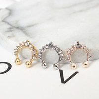 Wholesale Gold Diamond Ear Cuffs - Single Crown crystal Diamonds U-type earrings earrings Europe and the United States Jane simple ancient men and women personality wild
