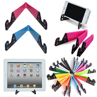 Wholesale Hand Mobile Phone Holder - Colorful Folda V Shaped Universal Foldable Mobile Cell Phone Stand Holder Portable Tablet PC Foldable Pad Phone Mobile Hands Holder Stand