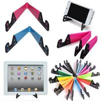 katlanabilir cep telefonları toptan satış-Renkli Folda V Şekilli Evrensel Katlanabilir Cep Cep Telefonu Standı Tutucu Taşınabilir Tablet PC Katlanabilir Pad Telefon Cep Eller Tutucu Standı