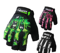 Wholesale Mesh Bicycle Gloves - RIGWARL Summer and Autumn Skeleton Bones Gloves GEL Breathable Mesh Half Finger Cycling Gloves for Bicycle And GYM