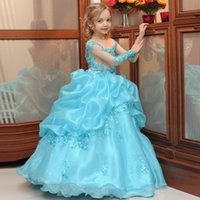 Wholesale Ultimate Blue - 2017 Princess Ball Gown toddler Girls Pageant Dresses Sheer Neck Beaded Appliques Ultimate Puffy Kids Flower Girls Dresses
