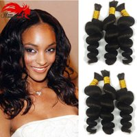 Wholesale bulk virgin braiding hair curly online - 3bundles gram Brazilian Virgin Loose Wave Human Remy Hari Braiding Hair Bulk Umano Hair For Micro Braids Human Braiding Hair Bulk Curly