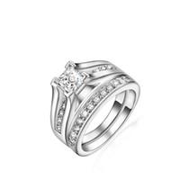 platinbeschichteter schmuck großhandel-Hot 1 Set Luxus Platz Österreichischen Kristall Ring 925 Sterling Silber mit Platin Überzogene Mode Silber Schmuck Ringe Hochzeit Schmuck