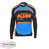 Wholesale Long Sleeve Cycling Jersey Orange - KTM Men Cycling Thermal Fleece jersey Pro Team Long Sleeve Bike Clothing Wear mtb Ciclismo Maillot D1036