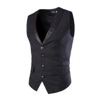 Wholesale Waistcoats Mens Wedding - Wholesale- New Designs Mens Suit Vest Patchwork V-Neck 4 Buttons Blazer Weste Grey Black Wedding Dress Vests For Men Slim Fit Waistcoat