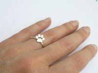 Wholesale Dog Ring Fashion - New Fashion Animal Jewelry Cat Paw Print Rings for Women Open Dog Paw Ring Female Party Gifts R176