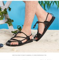 Wholesale Trend Shoes Wholesale - Double color summer wind Chinese retro slippers and sandals casual male personality folk style trend of literary sandbeech Rome men's shoes