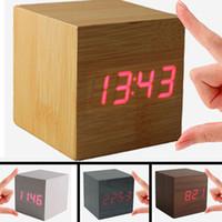 Wholesale Electronic Table Calendar - Wooden LED Alarm Clock Sound Control Wood Square Clocks with Calendars Electronic Desktop Digital Table Clocks
