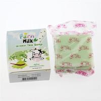 Wholesale fern soap - New Handmade OMO Fern Milk Green Tea Soap Skin Care Natural Soap Blackhead Remover Acne Treatment Oil Control Face Soap 2017