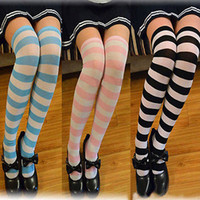 Wholesale Cheap Pink Knee High Socks - Wholesale-Hot New Sexy Women Girl Striped Cotton Thigh High Stocking Over the Knee Socks Fashion Stockings For Dating Cosplay Cheap