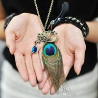 Wholesale Tassel Peacock Necklace - Wholesale Vintage Bohemian Sweater Chain Crystal Necklace With Peacock Feather Fashion Tassel Pendant Necklace For Women