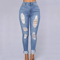 Wholesale New Design For Cotton Pants - Wholesale- Retro Hole Design Loose Jeans Woman High Waist Women's Denim Pants New Fashion Full Length Trousers For Women Pencil Pants