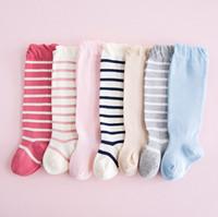Wholesale Toddler Tube Socks Kids - Autumn Girls Socks Stripe Winter Children Socks Striped Kids Knee Sock Candy Color Cotton Toddler Tube Socksing C2533