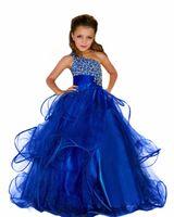 ingrosso vestiti lunghi di tulle blu dai capretti-2018 perline eleganti abiti da spettacolo curve per le ragazze fluffy lunghi bambini abito da ballo royal blue pageant ball gown dress for flower girls