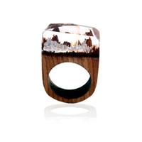 Wholesale hand landscapes forest - Forest Landscape Mountain Resin Ring Wood Ring Crystal Band Ring hand made Fashion Jewelry for Women Gift Drop Shipping