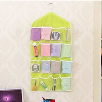 Wholesale Underwear Closet - Wholesale- 16 PocketsThick Hanging Clear Door Wall Socks Cosmetic Underwear Storage Bag Closet Organizer Bag 2016