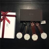 Wholesale Thin Quartz Watches - Hot Selling Brand DW men 40mm women 36mm quartz watch ultra-thin luxury brand watches with Original box & gift box Relogio clocks