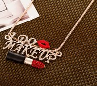 Wholesale-Luxurious Women Exagerado Coreano Sexy Lady Red Lip Full Rhinestone Lipstick Sweater Necklace N2661