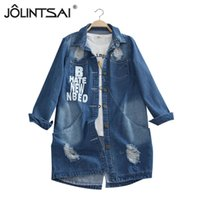 Wholesale Down Coat Ladies Pattern - Wholesale- Plus Size 6XL 2016 Ladies Denim Jackets Spring Turn Down Collar Hole Long Sleeve Casual Denim Jacket Women Jeans Coat Outerwear