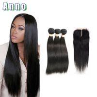 Wholesale 34 Inches Brazilian Hair - Brazilian Straight Hair With Closure Brazilian Virgin Hair With Closure Tissage Bresilienne Avec closure Straight Weave Bundles