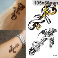 Wholesale Cross Tattoos Back - NEW Waterproof 3d Tattoo Sticker Cross Key Crown Temporary Tattoos Stickers Vintage for Men free shipping