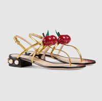 Wholesale Glass Slipper Flat Shoes - 2017 Chiara Ferragni Leather Cherry Thong Women Sandal Slippers Slides Thick Glass Pearl Sandals Flat Low Heel Slingback Shoes