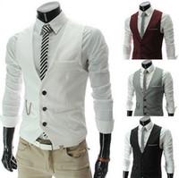 Wholesale Wholesale Vest Jacket Men - Wholesale- 2016 New Arrival fashion Male Suit Vest Slim Fit Dress Vests Men's Leisure Waistcoat Casual Business Jacket Tops