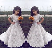 Wholesale Dres For Kids - Vintage A Line Flower Girls Dresses For Wedding Lace Applique Kids Gowns Floor Length Custom Made Communion Dres