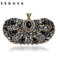 Vintage Beaded Women Evening Bags Rhinestones Wedding Handbags Diamonds Pearl Handle Cadeia Shoulder Messenger Bags